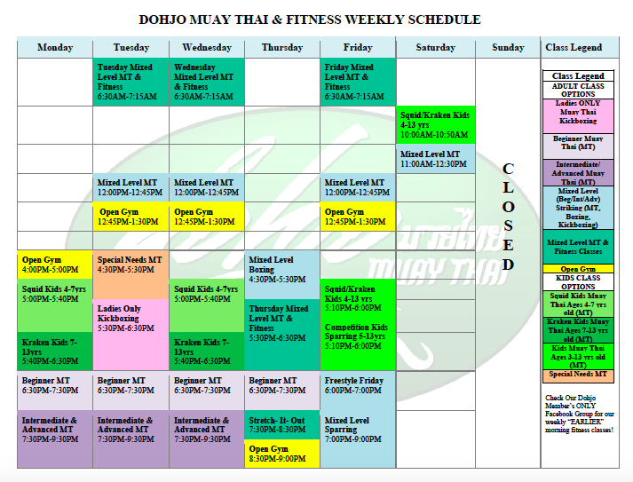 Dohjo-Muay-Thai-Schedule