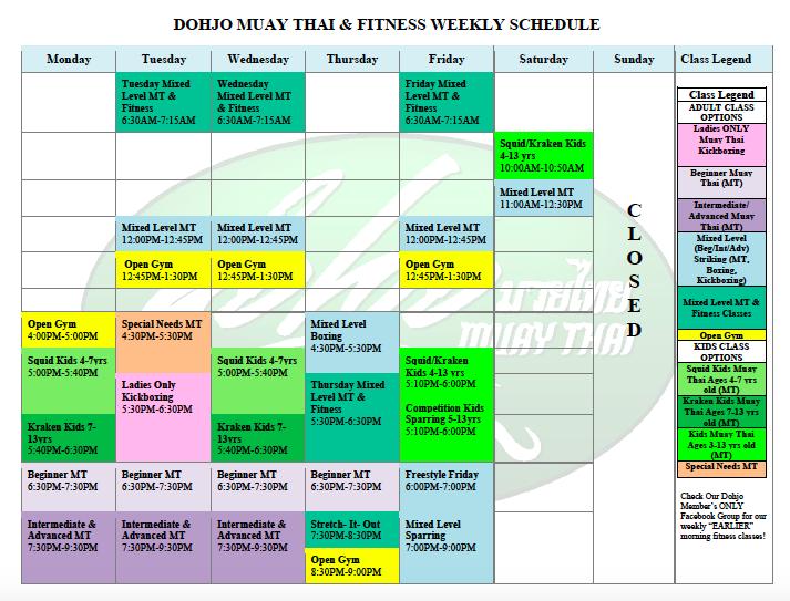 Dohjo Muay Thai Schedule