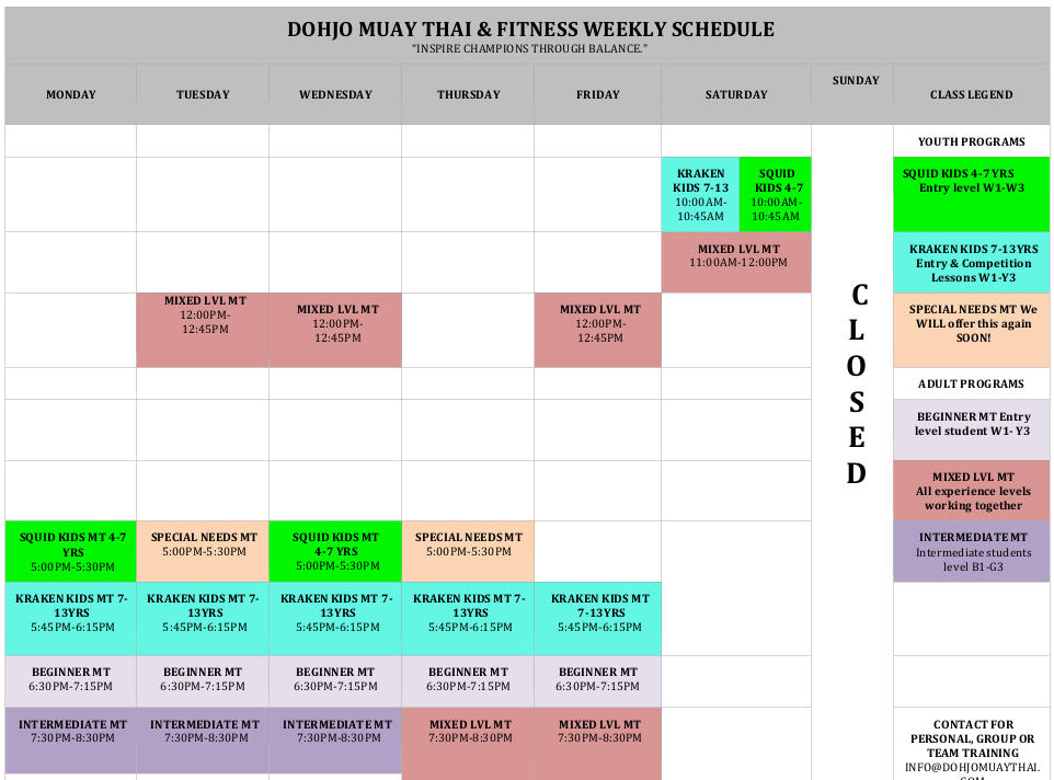 Snapshot of schedule